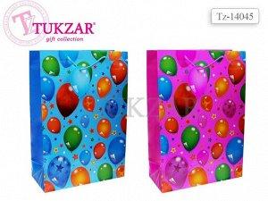 Пакет подарочный бумажный,глянцевый ВОЗДУШНЫЕ ШАРЫ, 45х31х14 см.,                     2 цвета в ассортименте