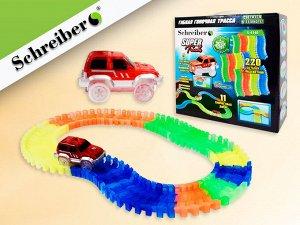 Гибкая гоночная трасса Super Tracks 220 деталей, ширина трассы - 7 см, 1 машинка в комплекте, в картонной коробке. Размер коробки 25х26х9 см