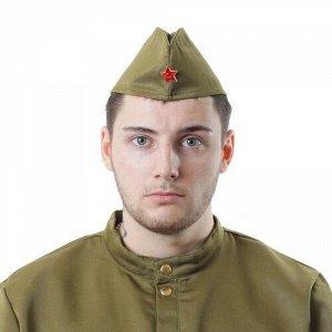 Пилотка военного для взрослых , простая, р. 53-56см