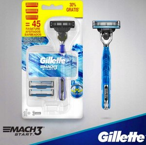 GILLETTE MACH3 Start Бритва с 1 сменной кассетой+2 Сменные кассеты для бритья