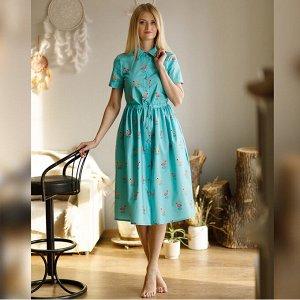 """Рубашка-платье """"Фламинго на бирюзовом"""""""