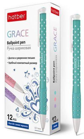 """Ручка автоматическая шариковая 0.7мм """"Grace"""" синяя, ассорти (058434) Хатбер {Китай}"""