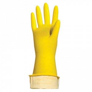 """Перчатки хозяйственные латексные ЛАЙМА """"Люкс"""", МНОГОРАЗОВЫЕ, хлопчатобумажное напыление, плотные, размер XL (очень большой), 600"""