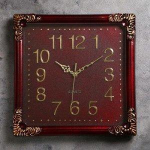 Часы настенные, квадратные, с завитками под металл по углам, коричневые, 35х35 см