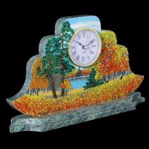 "Часы ""Наполеон. Осень"" 27х15х4 см, каменная крошка, змеевик"