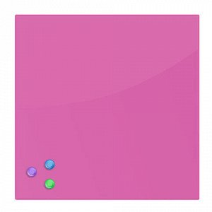 Доска магнитно-маркерная стеклянная (45х45 см), 3 магнита, РОЗОВАЯ, BRAUBERG, 236742