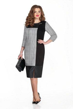 Платье Платье TEZA 321 чёрный  Состав ткани: Вискоза-10%; ПЭ-40%; Шерсть-20%;  Рост: 164 см.  Повседневное платье прямого силуэта с втачным рукавом. Спинка и рукава выполнены из текстиля. Перед комби