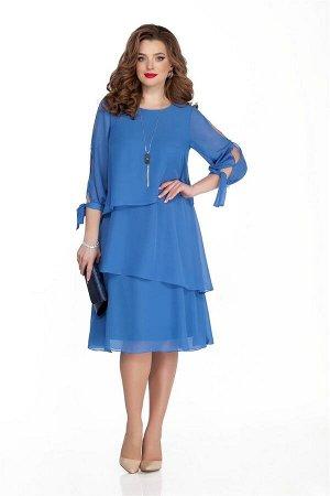 Платье Платье TEZA 325 синий  Состав ткани: Вискоза-20%; ПЭ-80%;  Рост: 164 см.  Нарядное платье трапециевидного силуэта с втачным рукавом. Рукав с фигурными отверстиями сбоку присобран на манжету, з
