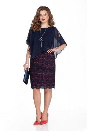Платье Платье TEZA 331 синий  Рост: 164 см.  Нарядное платье полуприлегающего силуэта с ассиметричной пелериной. Платье выполнено из ажурного кружева, поставленного на трикотажную контрастную подклад