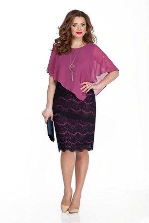 Платье Платье TEZA 331 слива  Рост: 164 см.  Нарядное платье полуприлегающего силуэта с ассиметричной пелериной. Платье выполнено из ажурного кружева, поставленного на трикотажную контрастную подклад