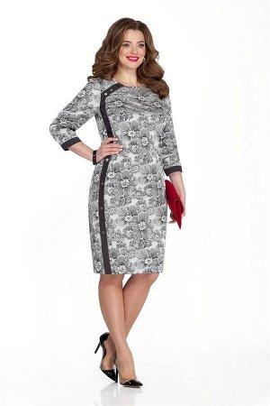 Платье Платье TEZA 333  Состав ткани: Вискоза-20%; ПЭ-80%;  Рост: 164 см.  Платье силуэта бочонок с длинным рукавом. С контрастной декоративной планкой с кнопками по переду и низу рукава. Застежка на