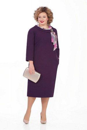 Платье Платье Pretty 948 баклажан  Состав ткани: Вискоза-20%; ПЭ-80%;  Рост: 164 см.  Платье из плательно-костюмной с небольшой растяжимостью. На переде обработаны нагрудные вытачки. Спинка со средни