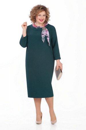 Платье Платье Pretty 948 изумруд  Состав ткани: Вискоза-20%; ПЭ-80%;  Рост: 164 см.  Платье из плательно-костюмной с небольшой растяжимостью. На переде обработаны нагрудные вытачки. Спинка со средним