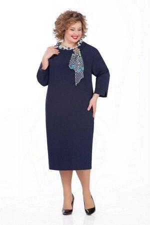 Платье Платье Pretty 948 т-синий  Состав ткани: Вискоза-20%; ПЭ-80%;  Рост: 164 см.  Платье из плательно-костюмной с небольшой растяжимостью. На переде обработаны нагрудные вытачки. Спинка со средним
