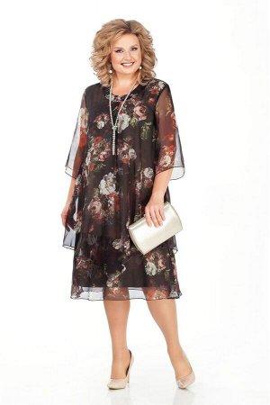 Платье Платье Pretty 242 дизайн + подкладка хаки  Состав ткани: ПЭ-95%; Спандекс-5%;  Рост: 164 см.  Мягкие тона шифона верхней накидки и свободный крой создают эффект волшебной легкости и нежности.