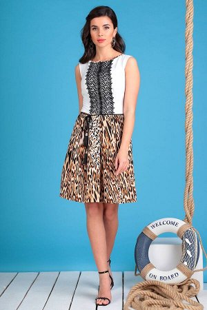 Платье Платье Мода Юрс 2326 леопард  Состав ткани: ПЭ-100%;  Рост: 170 см.  Стильное платье прилегающего силуэта из однотонного текстиля в сочетании с леопардовым принтом. По переду платья нагрудные