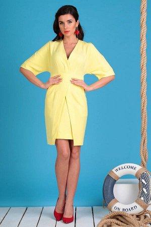 Платье Платье Мода Юрс 2334 желтый  Состав ткани: ПЭ-91%; Спандекс-9%;  Рост: 164 см.  Платье прилегающего силуэта с рукавом кимоно. Горловина переда, спинки, нижние части платья обработаны подкройно