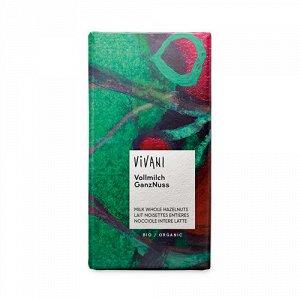 Молочный шоколад с цельными лесными орехами Vivani