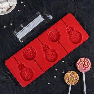 Форма для леденцов и мороженого Доляна «Улыбка», 24?9,5 см, 5 ячеек, с палочками, цвет МИКС