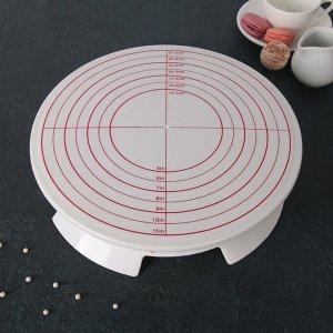 Подставка для торта вращающаяся, 30,5?8 см, с рычагом-блокиратором вращения,с разлиновкой