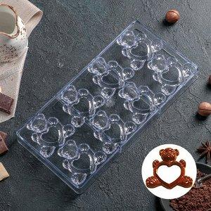 """Форма для шоколада 28?14 см """"Влюблённые мишки"""", 8 ячеек 4459565"""