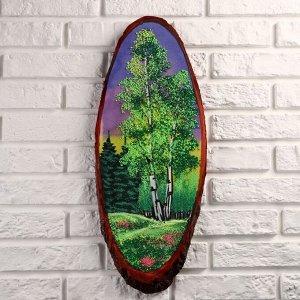 """Картина """"Лето"""" на срезе дерева, каменная крошка, микс"""