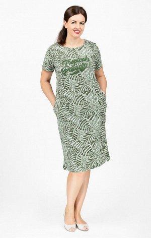 """Платье с карманами, принт """"Tropical Paradise"""", зеленый (620-2)"""