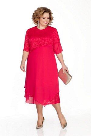 Платье Платье Pretty 1036  Состав ткани: ПЭ-100%;  Рост: 164 см.  Платье просторное из шифона, гипюра и трикотажа. Лиф переда и спинки отрезной под грудью. Нижний лиф из трикотажа, верхний – из