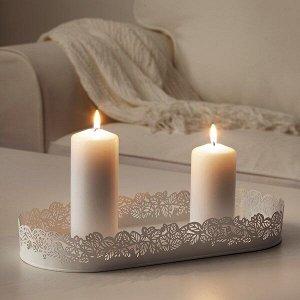 САМВЕРКА Тарелка для свечи, овал белый, 35x15 см
