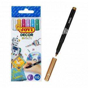 Маркер перманентный для декора, набор 6 цветов, JOVI Metallic 4.2