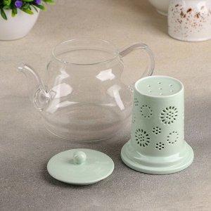 Чайник с керамическим ситом «Нежность», 700 мл, цвет мятный
