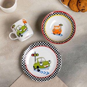 Набор детской посуды Доляна «Светофор», 3 предмета: кружка 230 мл, миска 400 мл, тарелка 18 см