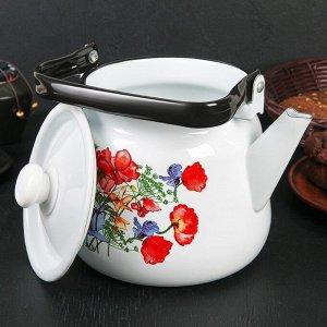 Чайник «Цветы красные», 3,5 л, белый с кнопкой