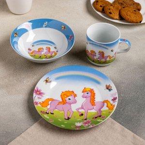 Набор детской посуды Доляна «Пони», 3 предмета: кружка 230 мл, миска 400 мл, тарелка 18 см