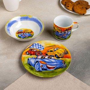 Набор детской посуды Доляна «Гонки», 3 предмета: кружка 230 мл, миска 400 мл, тарелка 18 см