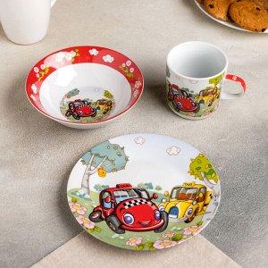 Набор детской посуды Доляна «Такси», 3 предмета: кружка 230 мл, миска 400 мл, тарелка