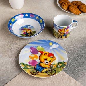 Набор детской посуды Доляна «Мишка на велосипеде», 3 предмета: кружка 230 мл, миска 400 мл, тарелка 18 см