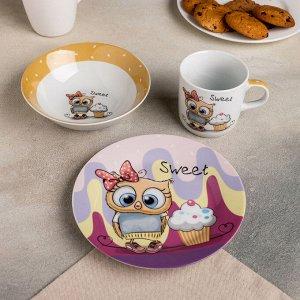 Набор детской посуды Доляна «Совёнок», 3 предмета: кружка 250 мл, миска 400 мл, тарелка 18 см