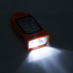 Фонарь переносной с петлёй для ношения, походный, 9 LED, 3 АА, микс, 5.5х13 см