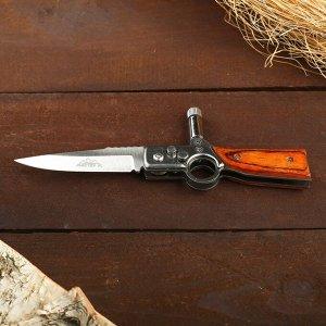 Нож складной автоматический с фонариком, рукоять тигр