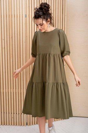 Платье Платье ЮРС 19-295/3  Состав ткани: ПЭ-40%; Хлопок-55%; Эластан-5%;  Рост: 164 см.  Если вы решили приобрести летнее платье цвета хаки, знайте, что это весьма удачный выбор. Оно весьма универса