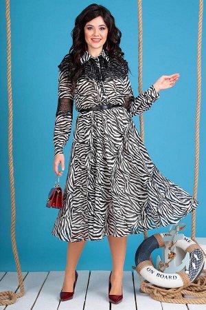 Платье Платье Мода Юрс 2544 зебра  Состав ткани: ПЭ-100%;  Рост: 164 см.  Платье женское A-образного силуэта. Платье отрезное по талии. По переду нагрудные вытачки. Застежка на отрезной планке на 7 п