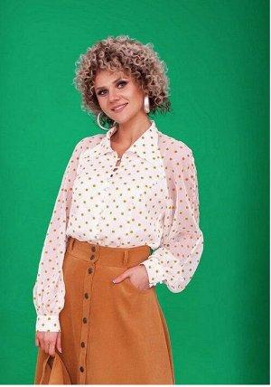 Блуза Блуза Euro Moda 157/2 молоко/горчица  Сезон: Весна-Лето Рост: 164  Блуза женская, полуприлегающего силуэта, удлиненная. Выполнена из шифона и на полной хлопковой подкладке. Рукав объемный-регла