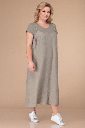 Костюм Костюм Linia-L Б-1737  Рост: 164 см.  Повседневный двухпредметный комплект, состоящий из платья и сарафана. Платье состоит из двух видов тканей: верх -- трикотажный, низ -- хлопчатобумажная по