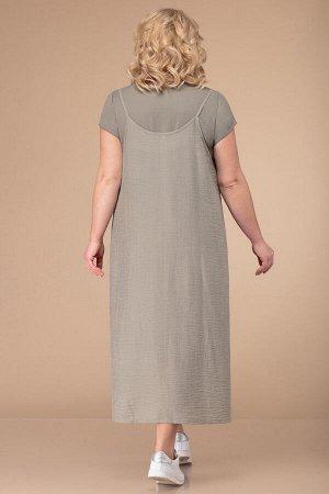Костюм Костюм Linia-L Б-1737  Сезон: Весна-Лето Рост: 164  Повседневный двухпредметный комплект, состоящий из платья и сарафана. Платье состоит из двух видов тканей: верх -- трикотажный, низ -- хлопч