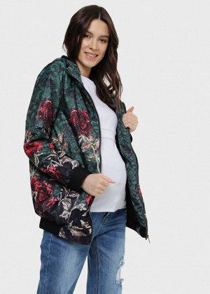 """Куртка демис 2в1 """"Орландо"""" для беременных; цвет: розы на зеленом"""