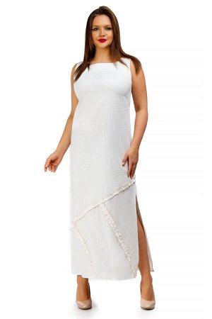 Платье прежняя цена  2214 Белый сарафан макси на лето с разрезами по бокам Отличный вариант на жаркую погоду. Прямоугольная горловина. Без рукавов. В боковых швах юбки разрезы. Длина по спинке 48-50рр