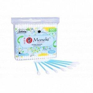 """Палочки ватные гигиен. """"Maneki"""" Lovely, с голубым пластиковым стиком, в zip-пакете"""