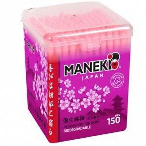 """Палочки ватные гигиен. """"MANEKI"""" (серия Sakura) с розовым бум. стиком, в пласт. коробке, 150 шт./уп."""