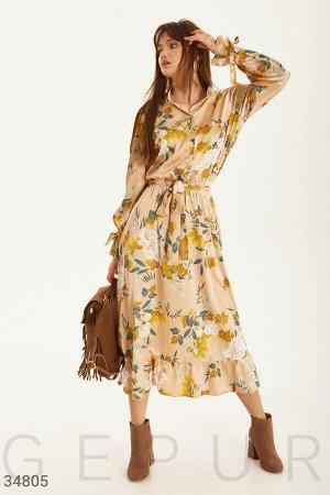 Шелковое цветочное платье